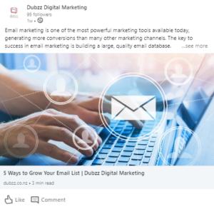 LinkedIn advertising - sponsored post