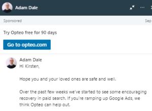 LinkedIn advertising - sponsored messages